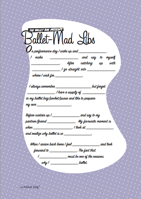 picture regarding Birthday Mad Libs Printable referred to as Enables perform Ballet-Outrageous Libs! - The Ballet Bag