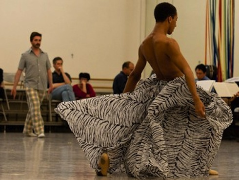 Harper Watters in rehearsal with Houston Ballet's AD Stanton Welch