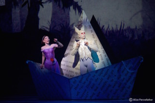 Sarah Lamb as Alice and Ricardo Cervera as the White Rabbit.