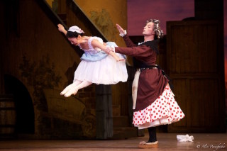 Yuhui Choe as Lise and Jonathan Howells as Widow Simone in La Fille Mal Gardée