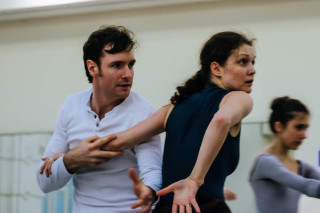 James Streeter and Jurgita Dronina rehearse Robbins' The Cage.