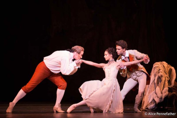 Christopher Saunders, Francesca Hayward and Alexander Campbell in Manon