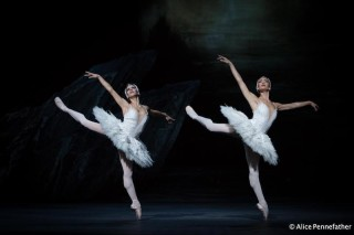 Mayara Magri and Tierney Heap as Big Swans in the Royal Ballet's Swan Lake.