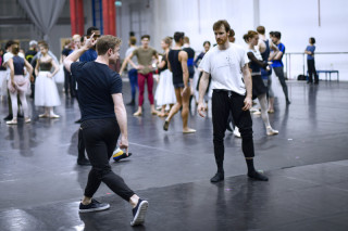 Christopher Wheeldon and James Streeter during rehearsal