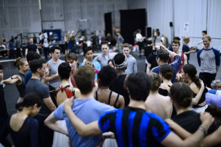 Artists of English National Ballet during rehearsals.