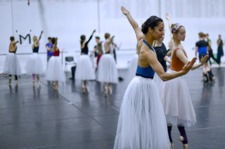 Sarah Kundi, Emily Suzuki and Artists of English National Ballet during rehearsals.