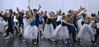 Artists of English National Ballet in rehearsal for Christopher Wheeldon's Cinderella.