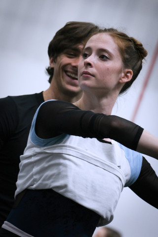 Emma Hawes and Francesco Gabriele Frola in rehearsal.