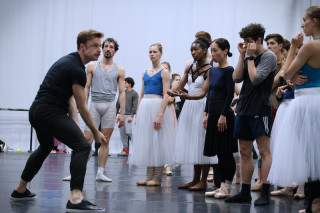 Christopher Wheeldon gives instructions to Artists of English National Ballet.