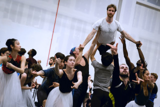 James Streeter and Artists of English National Ballet during Cinderella rehearsals.