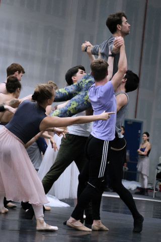 James Forbat and Artists of English National Ballet during Cinderella rehearsals.